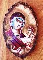 Icoane pe lemn - Maica Domnului pe scoarta de copac