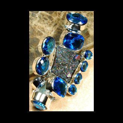 Bratara argint 925 cu topaz albastru si druza de titan