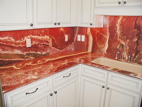 White Kitchen Red Tiles