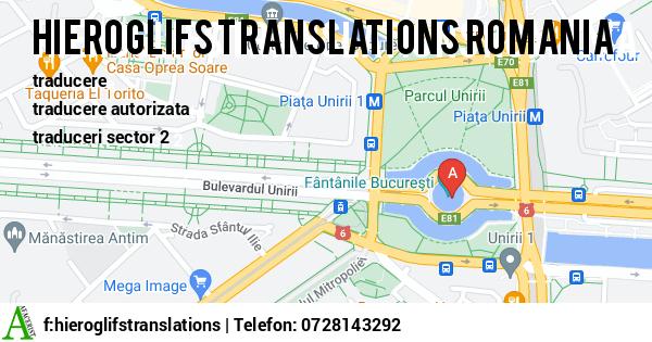 Harta HIEROGLIFS TRANSLATIONS ROMANIA - servicii traducere, localizare software