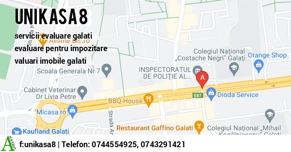 Harta SC UNIKASA 8 SRL - servicii evaluare galati, evaluare pentru impozitare