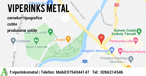 Harta SC VIPERINKS METAL SRL - cerneluri tipografice, cutite