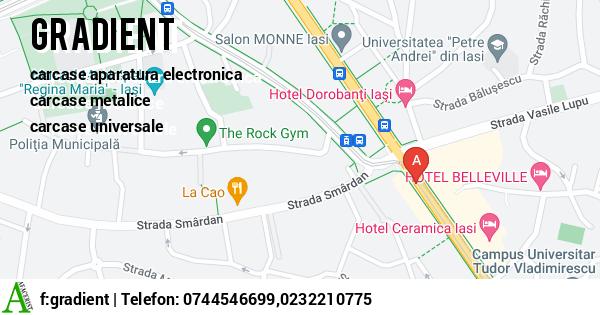 Harta GRADIENT SRL - carcase aparatura electronica, carcase metalice