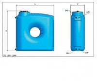 Rezervor polietilena ingust 1500 litri