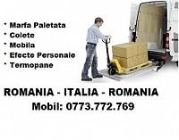 Transport marfa Romania - Italia colete bagaje pachete