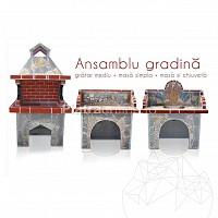 Ansamblu Gratar Gradina Family - Placat cu piatra poligonala
