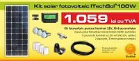 Kit (sistem) solar fotovoltaic ITechSol® 100W pentru ilumin