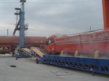 Banda transportoare pentru descarcat vagoane