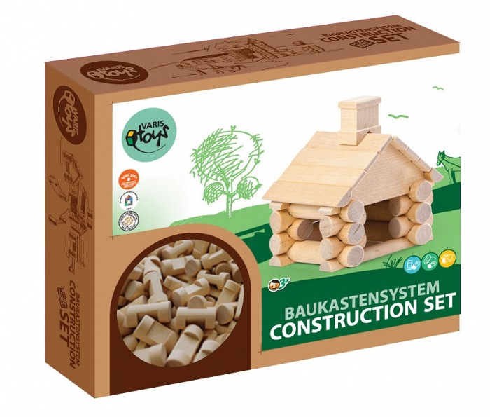 Jucarie de constructie din lemn - casuta