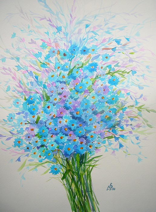 Picturi cu flori albastre