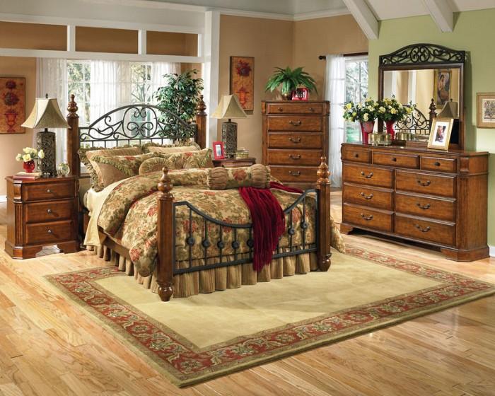 Set dormitor fier forjat si lemn de stejar