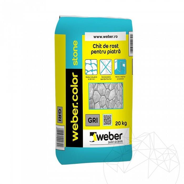 Chit rosturi piatra naturala - Weber Color Stone 20kg - Gri