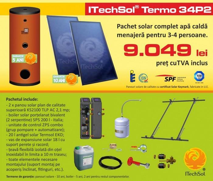 Pachet solar (kit) complet apa calda menajera pentru 3-4 per